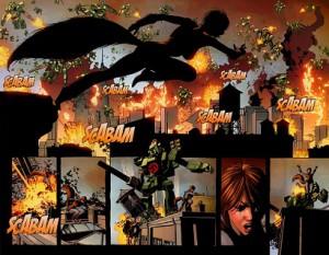 燃える街、駆けるリス